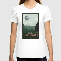travel poster T-shirts featuring Endor Travel Poster by Tawd86