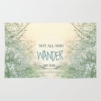 not all who wander are lost Area & Throw Rugs featuring Not all who wander are lost by SUNLIGHT STUDIOS  Monika Strigel