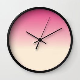 Antique White and Christmas Pink Gradient Colors Wall Clock