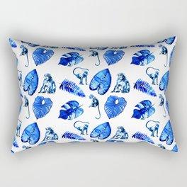 Bright Blue Monkey and Jungle Leaf Pattern Rectangular Pillow
