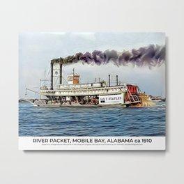River Packet, Mobile Bay, Alabama ca 1910 Metal Print