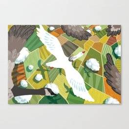 Nils With Wild Geese Canvas Print