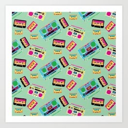 Mixtapes and Boomboxes Art Print