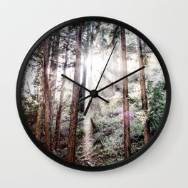 Big Sur Forest Sunbeams Wall Clock