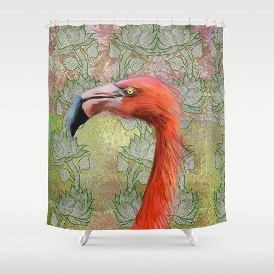 Red big bird Shower Curtain