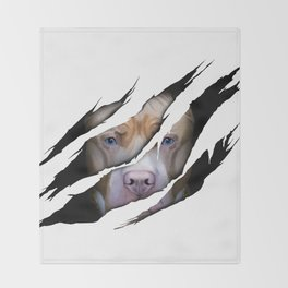Pit Bull Torn Effect illustration Throw Blanket