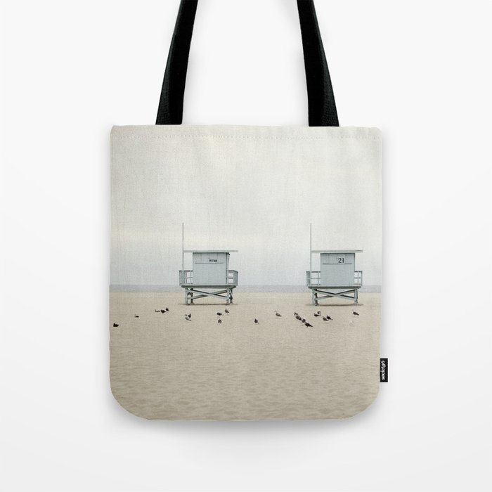 Lifeguard Towers with Birds Tote Bag