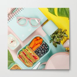 Healthy lunch, notebook, plant Metal Print