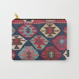 Red Band Diamond Kilim // 19th Century Colorful Brown Cream Peach Navy Blue Ornate Accent Pattern Carry-All Pouch