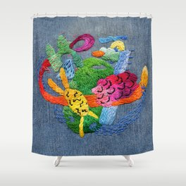 abstract embroidery Shower Curtain