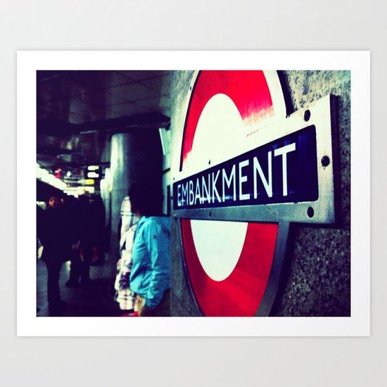 TUBE SIGNS-Embankment Art Print