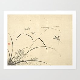 Vintage Chinese Ink and Brush Painting and Calligraphy Art Print