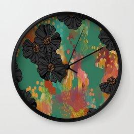 Black Zinnia Wall Clock