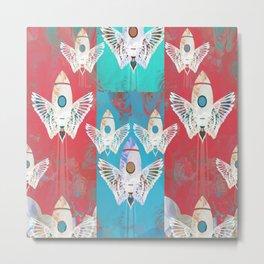 Magic Rocket Wings Space Print Metal Print