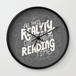 Reality Vs. Reading Grey Swirls Wall Clock