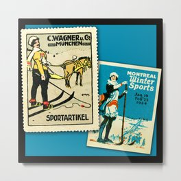 Vintage Poster Stamps - Skiing Metal Print