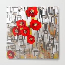 Cubism Poppies Metal Print