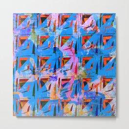 Blue Squiggle Square Pattern Metal Print