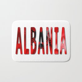 Albania Word With Flag Texture Bath Mat