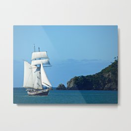 Masted ship, Bay of Islands (New Zealand Collection) Metal Print
