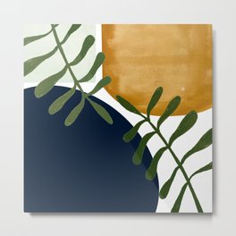 Boho Leaves and Shapes Deep Metal Print