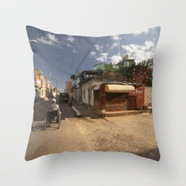 Small market, on the corner of a street, in Trinidad, Cuba. Throw Pillow
