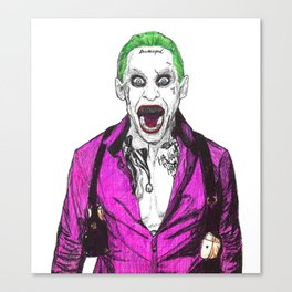 Joker  Ballpoint Pen Drawing from suicide squad Canvas Print