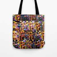 lindsay lohan Tote Bags featuring Lindsay-Alice-Court-Glitch by Peter Marsh