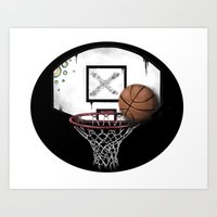basketball Art Prints featuring basketball by Penfishh