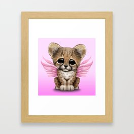Cute Baby Cheetah Cub with Fairy Wings on Pink Framed Art Print