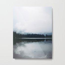 Minimalist Cold Landscape Pine Trees Water Reflection Symmetry Metal Print