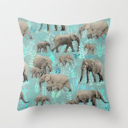 Sweet Elephants in Soft Teal Throw Pillow