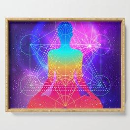 Sacred Geometry Yoga Energy Universe Meditation Chakra Expansion Nirvana Enlightenment Serving Tray
