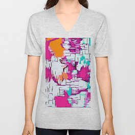pink orange and green drawing abstract background Unisex V-Neck