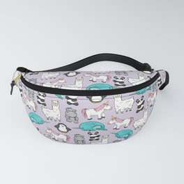 Llama, Unicorn, Narwhal, Panda, Penguin, Hippo, Tween Art, Purple Print, Cute Animal Illustration Fanny Pack