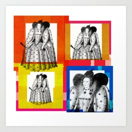 QUEEN ELIZABETH THE FIRST, 4-UP POP ART COLLAGE Art Print