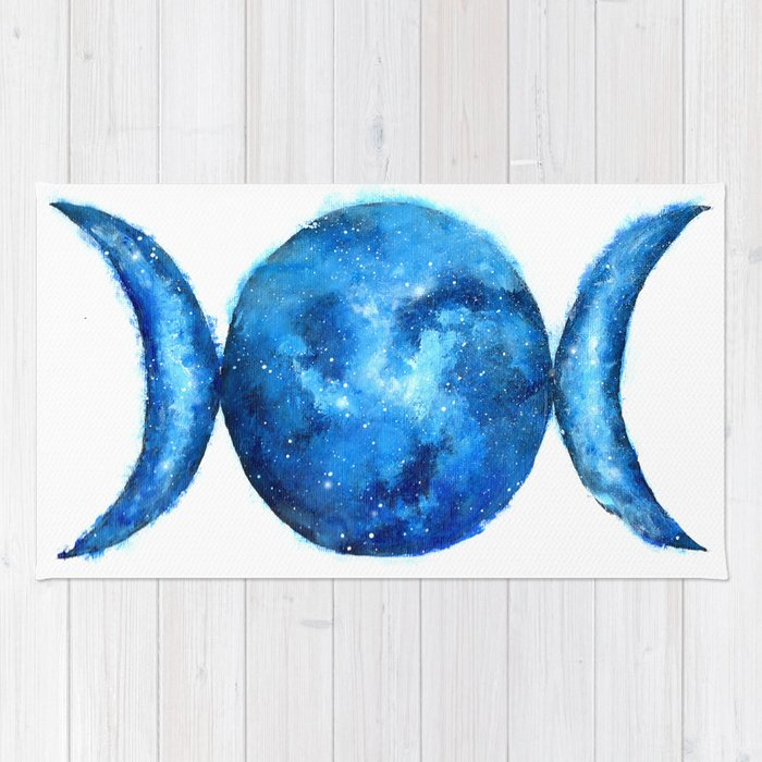 Triple Moon Goddess | Full Moon | Crescent Moon | Moon Phases Rug