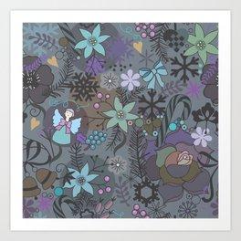 Colorful grey xmas pattern Art Print