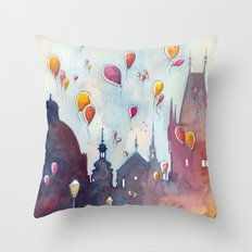 Balloons at Charles Bridge Throw Pillow