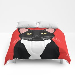 Tuxedo Cat Art Poster by Artist A.Ramos. Designed in Bold Colors. Perfect for Pet Lovers Comforters