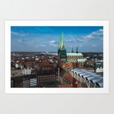 Church in the city Lübeck Germany Art Print