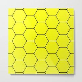 Beehive - Black and yellow hexagon, beehive, honeycomb pattern Metal Print