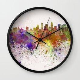 Seattle skyline in watercolor background Wall Clock