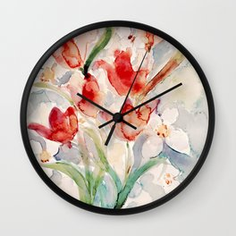 Tulips and Narcissi for Easter Wall Clock