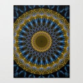 Mandala in golden and blue tones Canvas Print