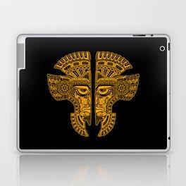 Yellow and Black Aztec Twins Mask Illusion Laptop & iPad Skin