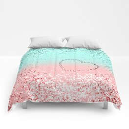 Summer Vibes Glitter Heart #1 #coral #mint #shiny #decor #art #society6 Comforters
