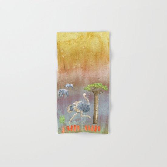 Run Fun - Ostrich Africa  Illustration Hand & Bath Towel