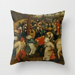 """Pieter Bruegel (also Brueghel or Breughel) the Elder """"The Outdoor Wedding Feast"""" Throw Pillow"""