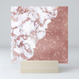 Girly Chic Modern Rose Gold Glitter Marble Pattern Mini Art Print